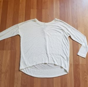 Bobi white knit blouse with huge front pocket